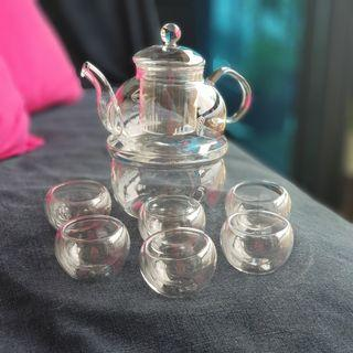 Glass Teapot with Warmer + Double-walled Tea Cup (6's) Set