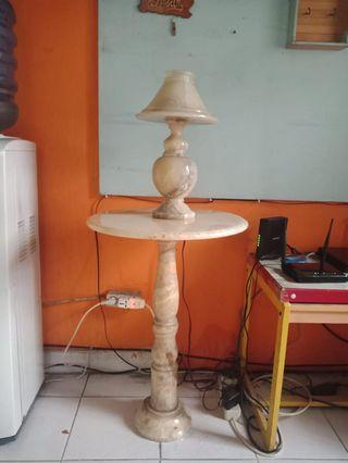 Lampu marmer 1 set meja marmer