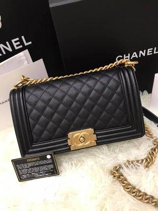 Chanel Boy 25cm 黑牛金
