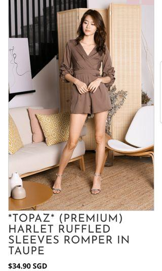 🚚 Ruffled Sleeve Romper Shorts in Taupe / Brown for Dinner Dates, Outings and Work