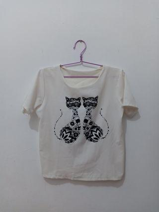 Preloved White Cat Blouse Top