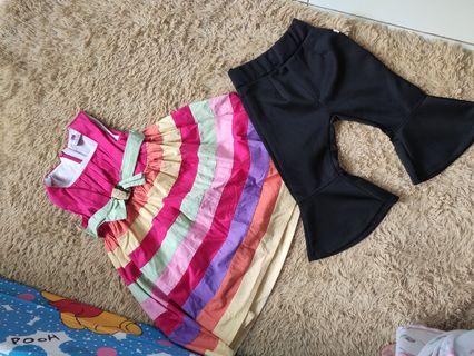 Bundling sale salvatore ferragamo rainbow dress and cutbray flare pants