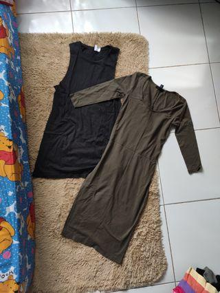 Bundling sale bodycon dress forever 21 dan long tank hnm