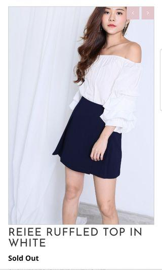 🚚 Off Shoulder Ruffled White Top