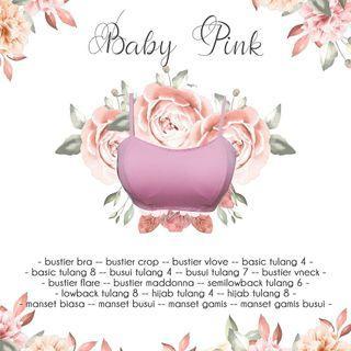 Bustier kamisol longtorso bra polyester baby pink ready SMLXL JUMBO