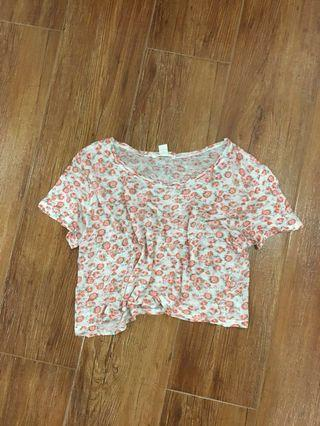 F21 Loose Semi See thru Flowy Floral Cropped BoxTop