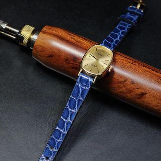 Handmade handstitched watch strap in electric blue circular Alligator leather for clients vintage Rolex orchid