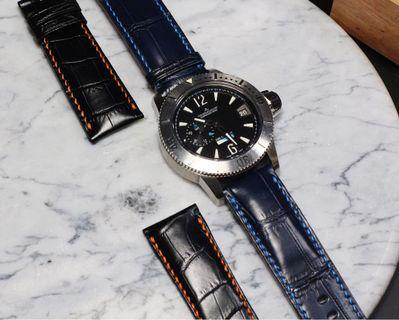 Handmade handstitched watch strap in alligator leather for clients JLC watch