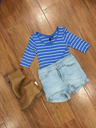Blue and White Summer 3/4s Crop Top by Cotton On
