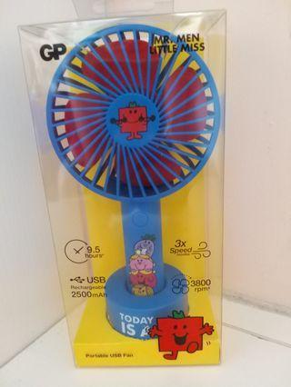 全新 GP portable fan USB 風扇 mr. men mr men little miss 手提風扇