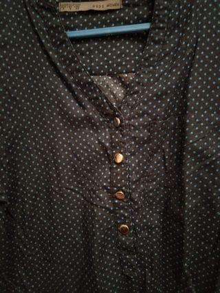 Dark blue polka dots shirt