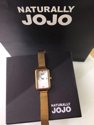 Naturally JoJo 魅力魔方米蘭不鏽鋼鍊錶 玫瑰金/白面
