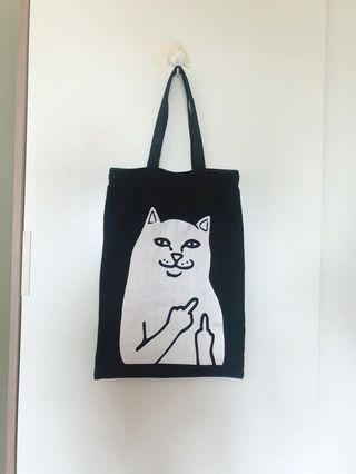 Middle Finger Cat Canvas A3 Tote Bag