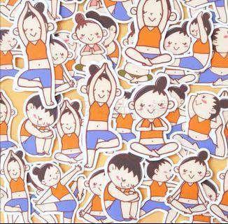 就愛瑜伽女孩(款式-01)一套40枚Line貼貼紙包手帳貼紙瑜珈可愛學生送禮文具跳舞生日禮物手工實用老師舞蹈教室