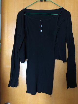黑色修身吊帶套裝連身裙