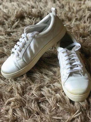 White satin sneakers