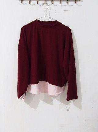 [PRELOVED] Maroon - soft Pink sweater