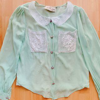 Bythian green top silk #