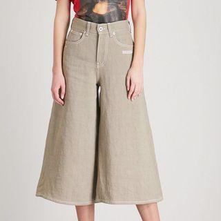 OFF-WHITE Juta Wide Leg Khaki Linen Pants Trousers Culottes
