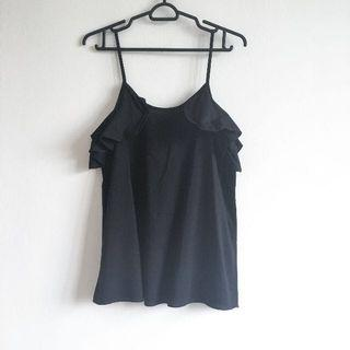 Black Frilly Criss Cross Back Tank