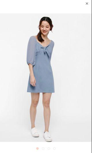 🚚 Lixette Tie-Front Balloon Sleeve Dress
