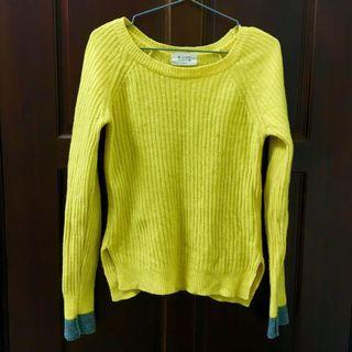 [贈]黃x灰袖子撞色針織上衣 毛衣 正韓 韓貨 韓國製