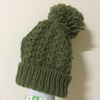 🚚 [贈]橄欖綠 大毛球 毛線帽 針織毛帽 球球 毛線球