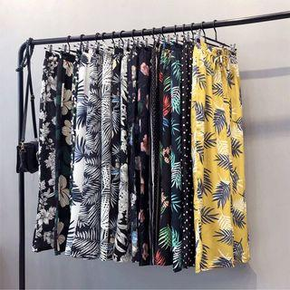 Tropical Floral Printed Wide-legged Pants Women Fashion Elastic Trousers Culottes