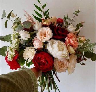 結婚 高質紅色絲花花球