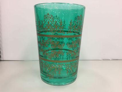 🚚 綠色金圖騰玻璃水杯 三個