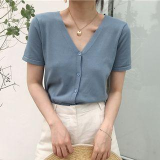 $8; INSTOCK ULZZANG BLUE KNITTED CARDIGAN TOP WITH BUTTONS