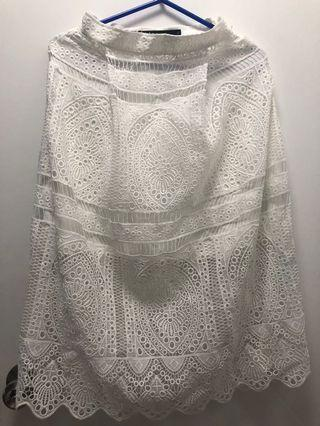 Bread b butter White Lace Skirt