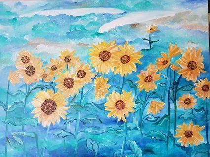 "🚚 Sunflower acrylic painting - 30x40"""