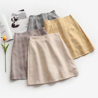 Women Fashion Plaid Checkered Mini A-line Skirt