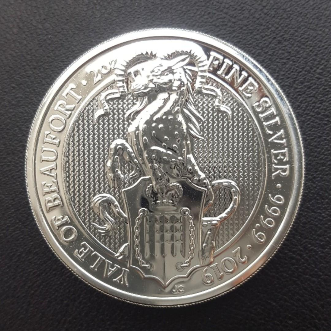 2019 2 oz British Queen's Beast Yale of Beaufort Silver Coin
