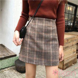 Women High Waist Checkered Grid Plaid Print Skirt