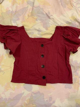 Red crop top with frills