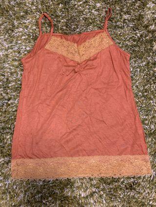 女裝橙色喱士吊帶背心襯衫 Ladies top