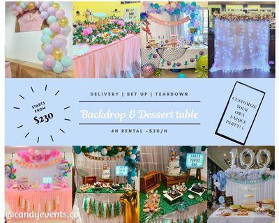 Dessert Table Decoration Backdrop cotton candy popcorn live station face painting glitter tattoo balloon sculpting kids birthday party set up