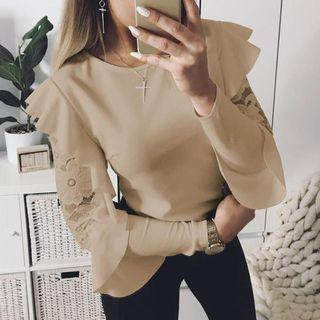 Elegant Lace Patchwork Blouse Work Ruffle Tops Casual