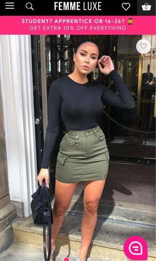 Khaki Cargo Pockets Skirt - Tiana (FemmeLuxeFinery)