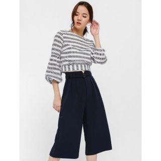 Love Bonito Camarre Belted Paperbag Culottes in Navy