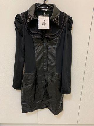 🚚 M 黑色皮衣立領內刷毛洋裝裙