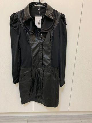 🚚 L 黑色皮衣立領內刷毛洋裝裙