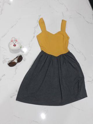 yellow grey dress