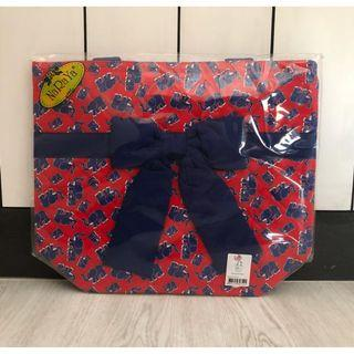 NaRaYa Fabric Cotton 200 Red with Blue Elephants Medium Casual Shoulder Bag
