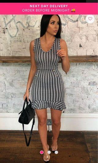 Black Gingham Button Ruffle Dress - Pennie (FemmeLuxeFinery)