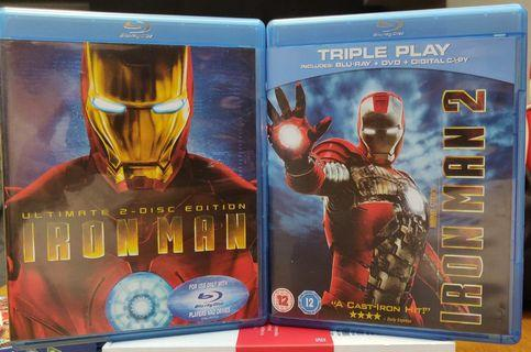 Iron Man and Iron Man 2 Blu-ray 藍光電影 movie package
