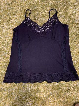 女裝黑色吊帶背心襯衫 Ladies top