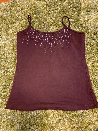 女裝啡色吊帶背心襯衫 Ladies top